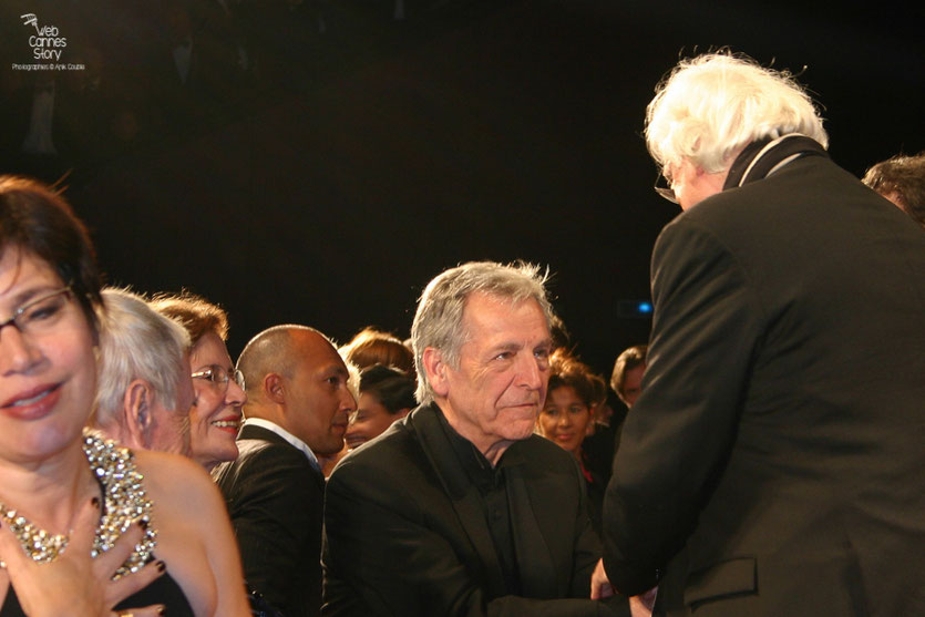 "Bertrand Tavernier et Costa Gavras, lors de la projection de son film "" La  Princesse de Montpensier "" - Festival de Cannes 2010 - Photo © Anik Couble"