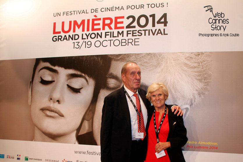 Max Lefrancq-Lumière, petit-fils de Louis Lumière et son épouse Michèle, lors de l'ouverture du Festival Lumière, à Lyon  le 13 octobre 2014 - Photo © Anik COUBLE