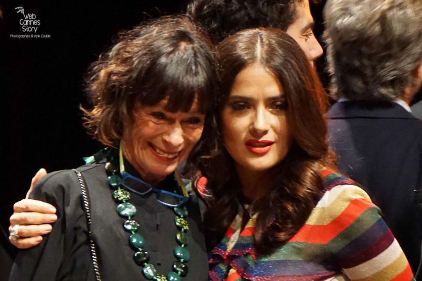 Salma Hayek, Geraldine Chaplin, Remise du Prix Lumière à Martin Scorsese - Festival Lumière - Lyon - Oct 2015 - Photo © Anik COUBLE