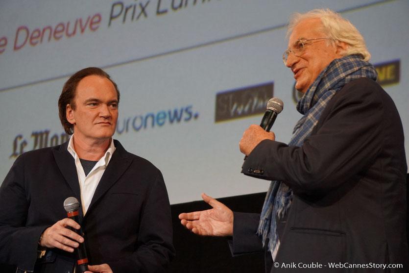 Quentin Tarantino et Bertrand Tavernier, sur la scène de la Halle Tony Garnier - Cérémonie d'ouverture - Festival Lumière 2016 - Lyon - Photo © Anik Couble