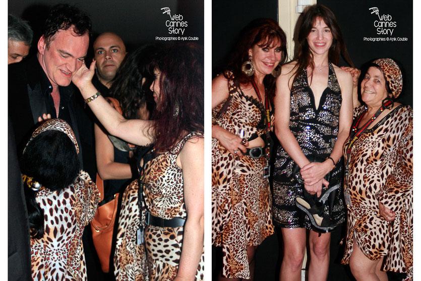 Pascaline Benito et Esméralda Petit-Benito, les célèbres femmes panthères, en compagnie de Quentin Tarantino et Charlotte Gainsbourg - Festival de Cannes 2009 - Photo © Anik Couble