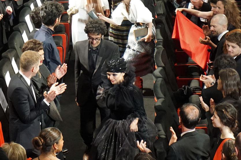 Marziyeh Rezaei, lors de la projection du film 3 visages (3 faces) de Jafar Panahi, présenté en sélection officielle, lors du Festival de Cannes 2018 - Photo © Anik Couble