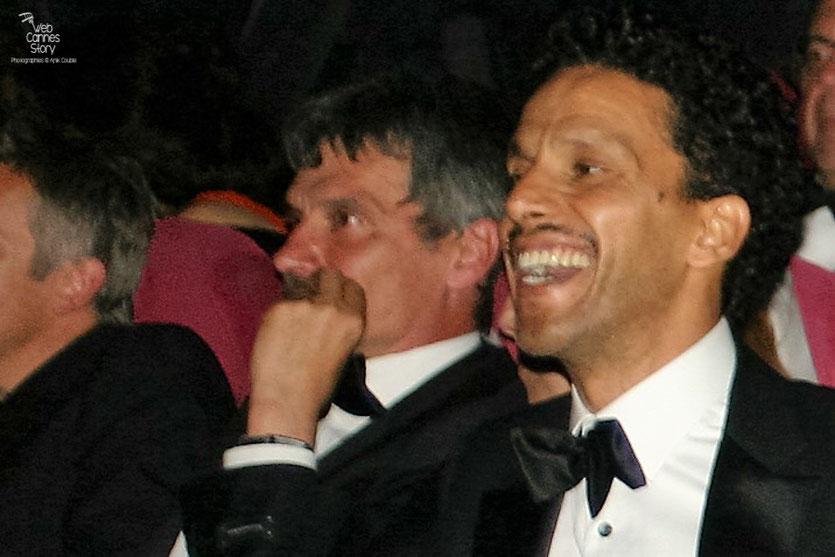 """Bernard Blancan et Sami Bouajila, lors de la projection du film """"Hors la loi""""  de Rachid Bouchareb - Festival de Cannes 2010 - Photo © Anik Couble"""