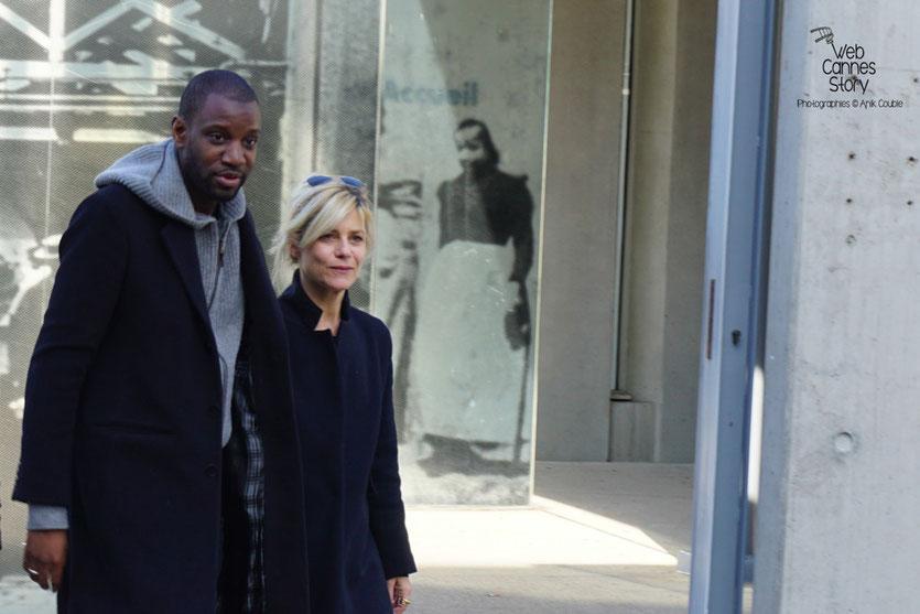 """Marina Foïs et Abd Al Malik , lors du Remake de """"Sortie d'Usine"""" dirigé par Martin Scorsese - Lyon - Festival Lumière 2015 - Photo © Anik COUBLE"""