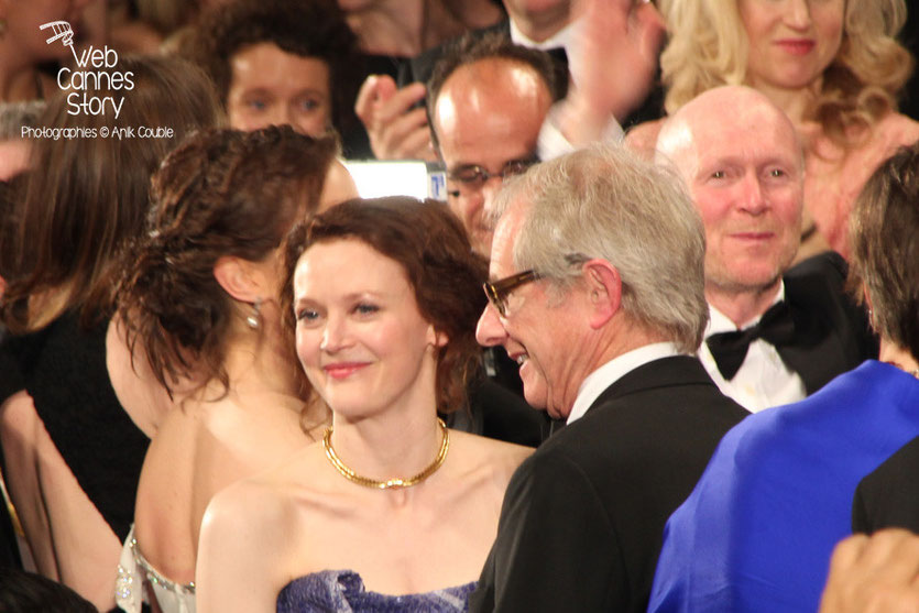 Simone Kirby et Ken Loach, lors de la présentation de son film «Jimmy's Hall» - Festival de Cannes 2014 - Photo © Anik COUBLE
