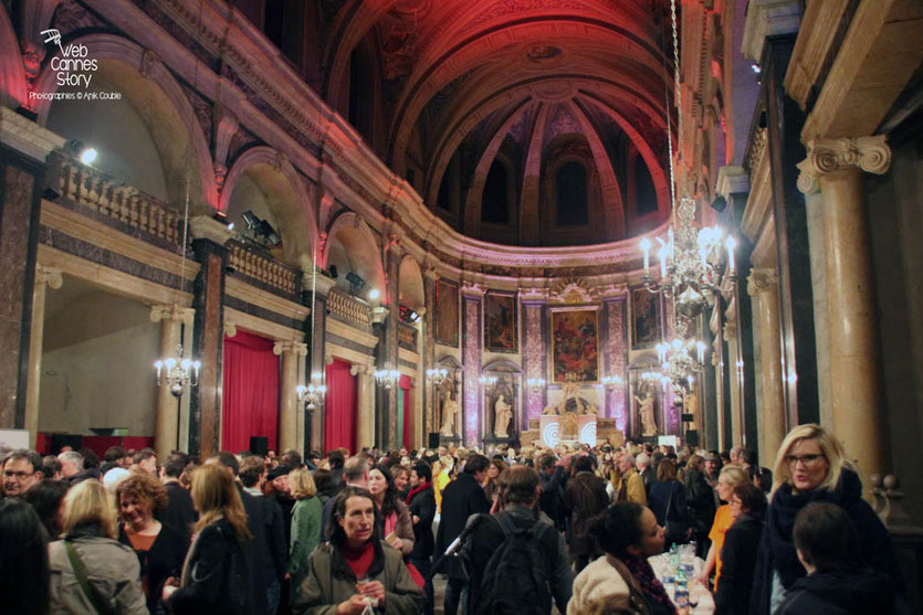 Le cocktail d'inauguration, à la Chapelle de la Trinité - Quais du Polar 2015 - Lyon - Photo © Anik COUBLE