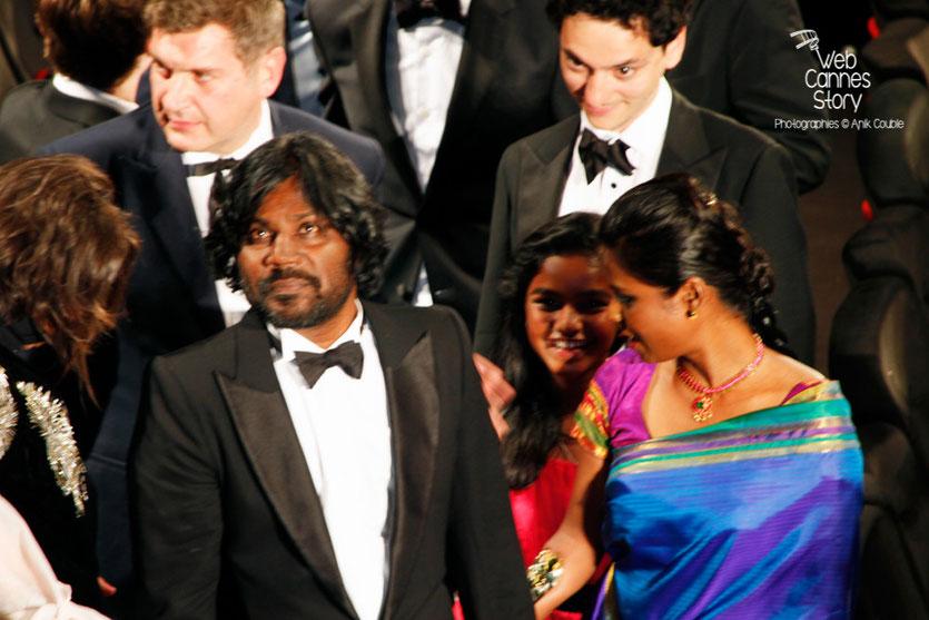 Antonythasan Jesuthasan, Claudine Vinasithamby et Kalieaswari Srinivasan, lors de la projection du film « Dheepan » de Jacques Audiard - Festival de Cannes 2015 - Photo © Anik COUBLE