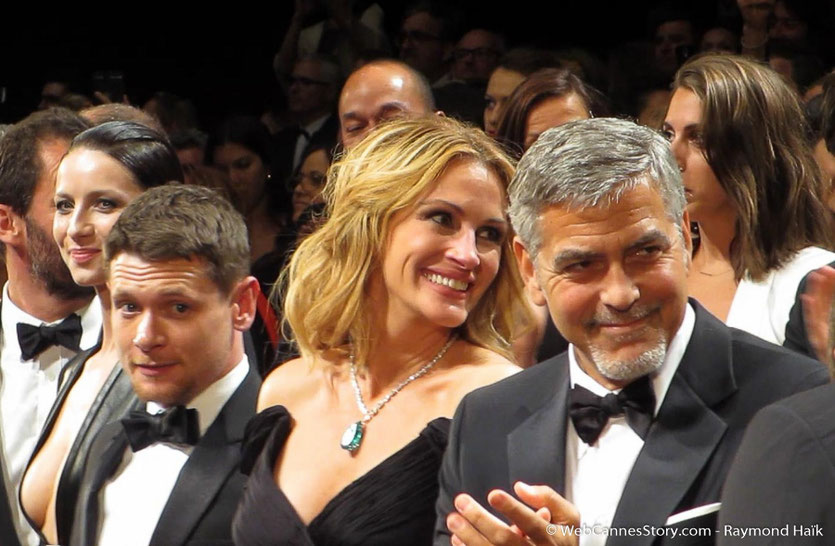 "Julia Roberts et George Clooney, lors de la projection du film "" Money Monster"" de Jodie Foster - Festival de Cannes 2016 - Photo © Raymond Haïk"