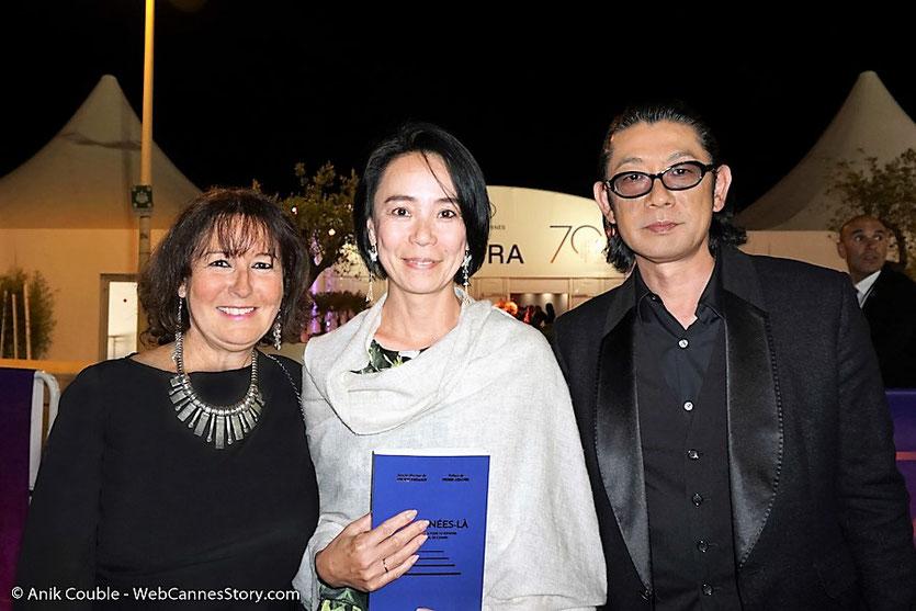 En compagnie de Naomi Kawase, réalisatrice japonaise et Masatoshi Nagase, comédien japonais - Festival de Cannes 2017 - Photo © Anik Couble