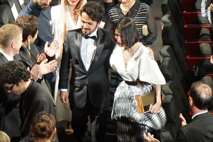 Panah Panahi et Solmaz Panahi, le fils et la fille de Jafar Panahi, présents à la projection du film 3 visages (3 faces) de leur père, Jafar Panahi, présenté en sélection officielle, lors du Festival de Cannes 2018 - Photo © Anik Couble