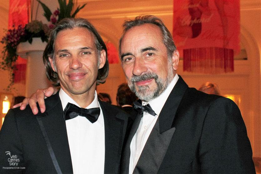 Paul Belmondo et Antoine Dulery, lors du dîner donné en l'honneur de son père, Jean-Paul Belmondo, au Carlton - Festival de Cannes 2011 - Photo © Anik Couble