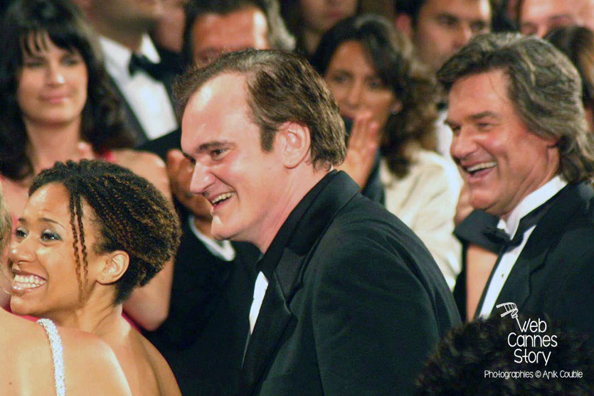 "Quentin Tarantino et Kurt Russel, lors de la  projection de son film ""Boulevard de la Mort"" - Festival de Cannes - 2007 - Photo © Anik COUBLE"