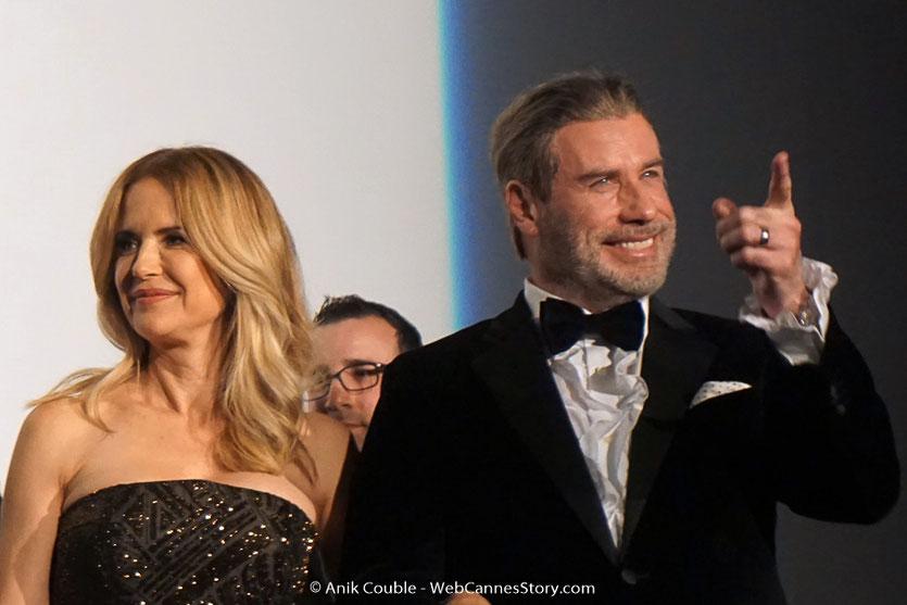John Travolta et son épouse Kelly Preston, lors de la projection du film, Gotti, de Kevin Connolly, présenté, en séance spéciale - Festival de Cannes 2018 - Photo © Anik Couble