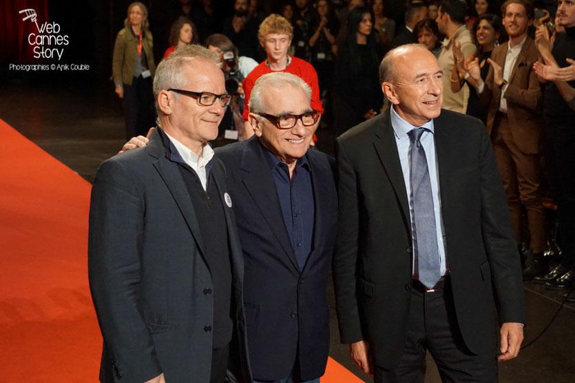 Martin Scorsese, entouré de Thierry Frémaux et  Gérard Collomb - Clôture du Festival Lumière 2015 - Lyon  - Photo © Anik COUBLE