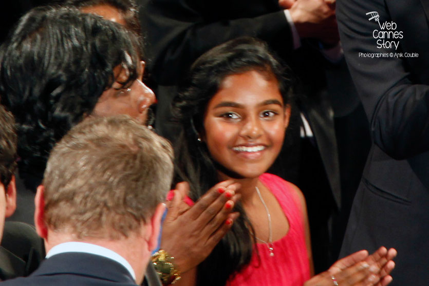 Claudine Vinasithamby, lors de la projection du film « Dheepan » de Jacques Audiard - Festival de Cannes 2015 - Photo © Anik COUBLE