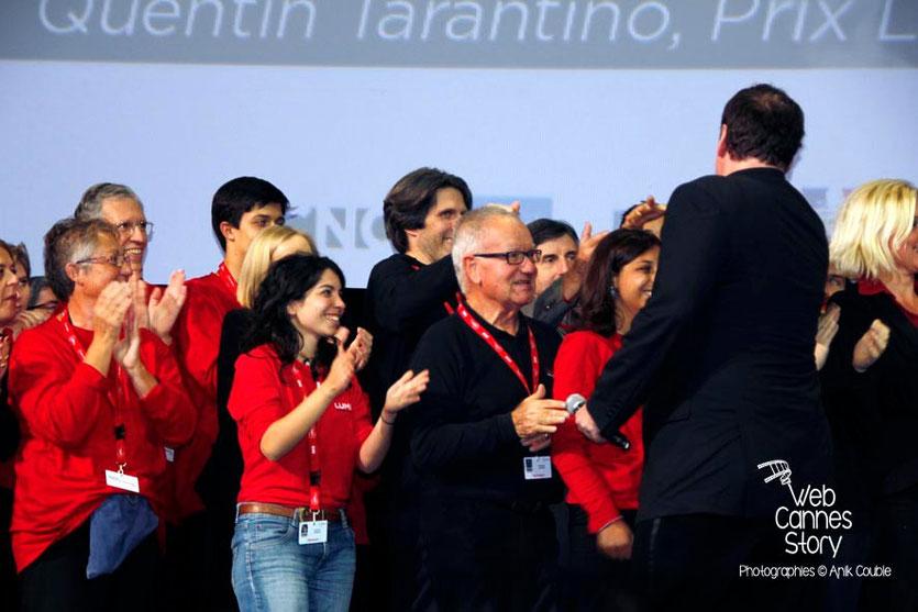 Quentin Tarantino à la rencontre des bénévoles - Halle Tony Garnier - Clôture du Festival Lumière - Lyon - 2013 - Photo © Anik COUBLE