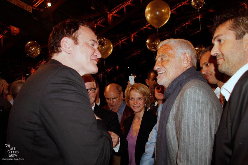 La rencontre de Quentin Tarantino et Jean-Paul Belmondo, lors du  Festival Lumière - Lyon - Oct 2013 - Photo © Anik COUBLE