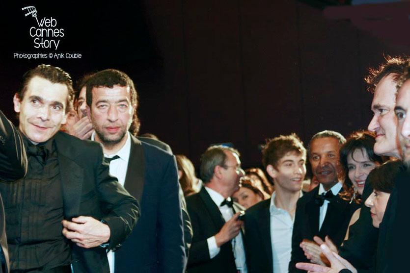 """Quentin Tarantino, Juliette Binoche et Abderhamane Sissako, lors de la projection du film """"Un Prophète"""" de Jacques Audiard - Festival de Cannes - 2009 - Photo © Anik COUBLE"""