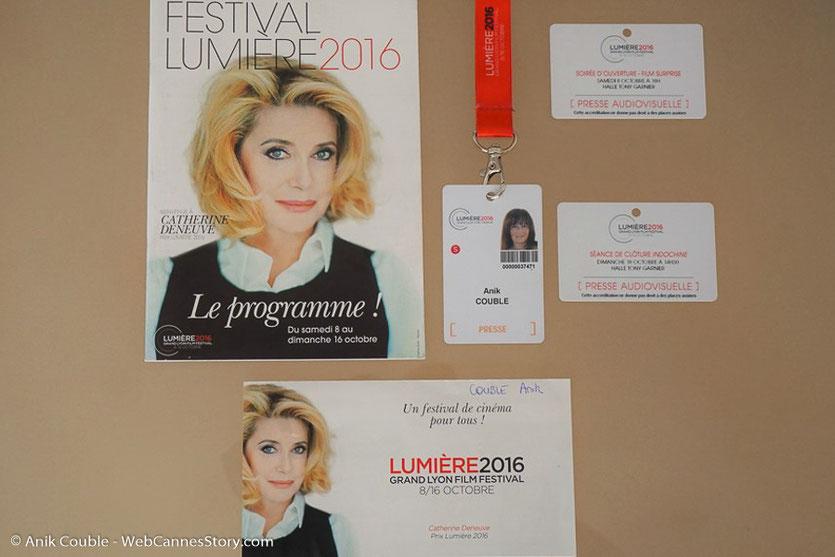 Mon accréditation presse, accordée par le  service de presse du Festival - Festival Lumière 2016 - Lyon - Photo © Anik Couble