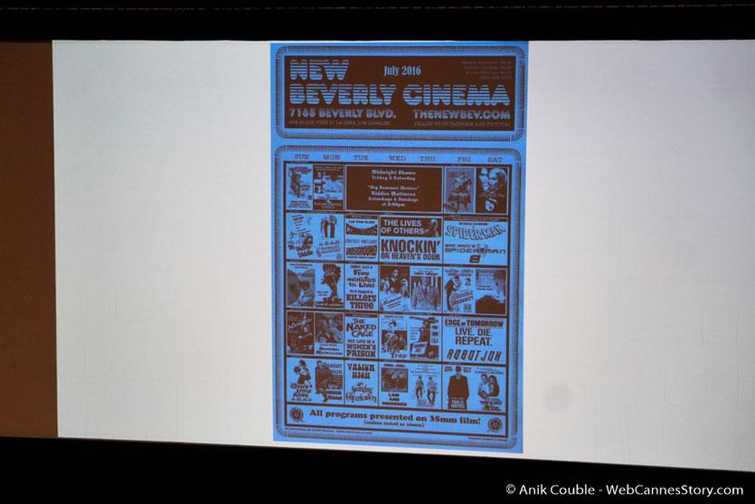 Master Class de Quentin Tarantino - Le programme de la salle de cinéma, le New Beverley que QT à racheter à Los Angeles  - Festival Lumière 2016  - Auditorium de Lyon- Photo © Anik Couble