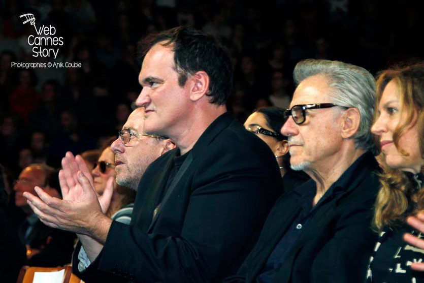 Quentin Tarantino, entouré de Tim Roth, d' Harvey Keitel - Clôture du Festival Lumière - Lyon - 2013 - Photo © Anik COUBLE