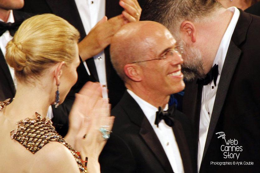 Jeffrey Katzenberg,  PDG de DreamWorks applaudi par Cate  Blanchett et Dean DeBlois, à l'occasion des 20 ans de DreamWorks fêté lors de la projection  de «Dragon 2», réalisé par Dean DeBlois - Festiva