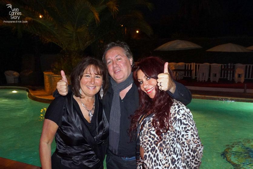 Anik Couble et Esméralda Petit Benito, à la Villa Ratapoil, en compagnie de leur ami de 30 ans, Hugo Mayer du Blog de Cannes - Festival de Cannes 2016 - Photo © Anik Couble