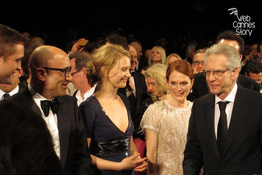 L'équipe du film «Maps to the Stars» de David Cronenberg, dont Robert Pattinson, Mia Wasikowska,  Julianne Moore et David Cronenberg - Festival de Cannes 2014 - Photo © Raymond HAIK