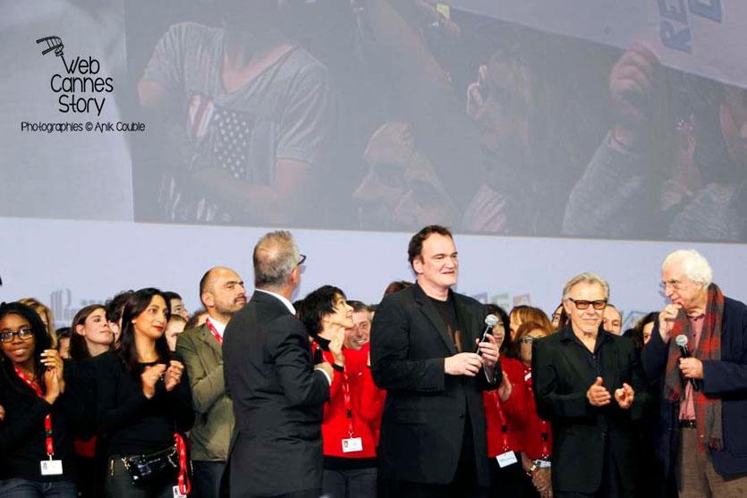 Quentin Tarantino, entouré de Tim Roth, d' Harvey Keitel - Clôture du Festival Lumière - Lyon - 2013 - Photo © Anik COUBLE Quentin Tarantino, entouré de Tim Roth, d' Harvey Keitel, sa compagne et son