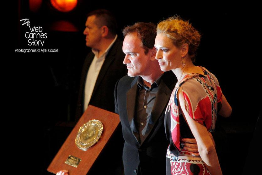 Quentin Tarantino en  compagnie d'Uma Thurma, qui lui a remis le Prix Lumière -  Festival Lumière - Lyon - Oct 2013 - Photo © Anik COUBLE