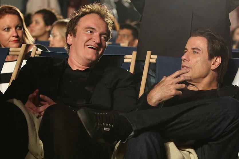 Quentin Tarantino et John Travolta, au Cinéma de la plage, pour la projection de «Pulp Fiction», - Festival de Cannes 2014 - Photo postée  sur Twitter
