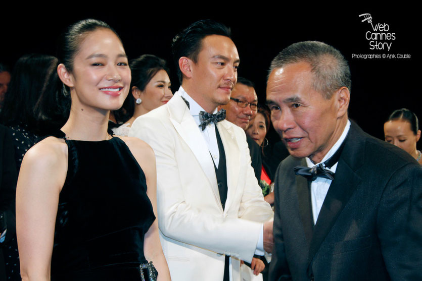 "Yun Zhou, Chang Chen et le réalisateur Hou Hsiao-Hsien, lors de la projection de son film ""The assassin"" -  Festival de Cannes 2015 - Photo © Anik COUBLE"
