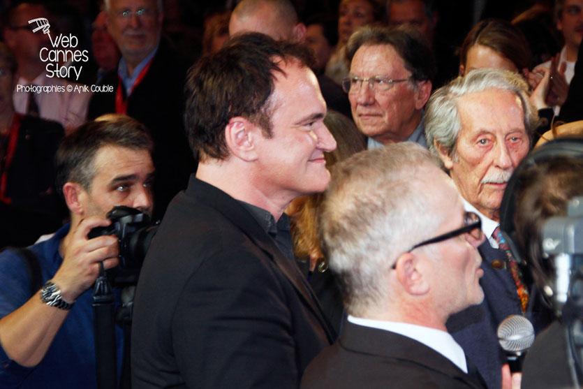 Quentin Tarantino, Thierry Fremaux et Jean Rochefort, lors de l'hommage à Jean-Paul Belmondo - Festival Lumière - Lyon - Oct 2013 - Photo © Anik COUBLE- Festival Lumière - Lyon - Oct 2013 - Photo © An