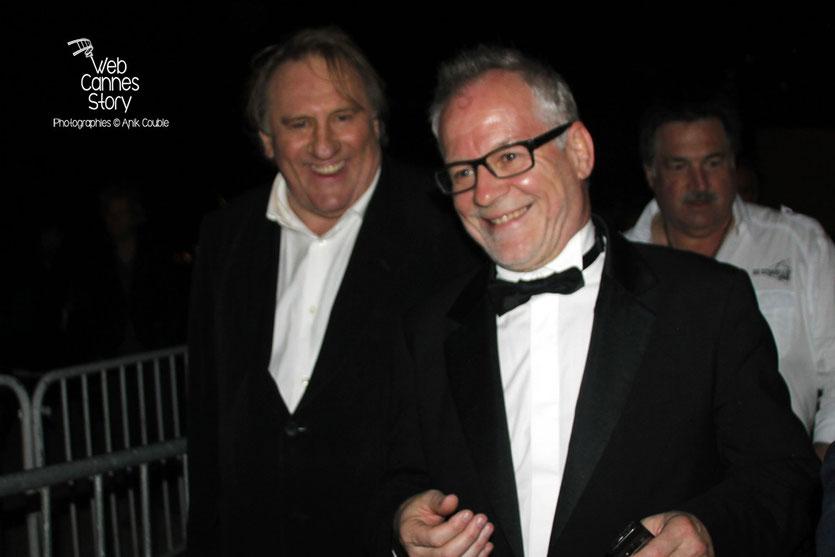 Thierry Fremaux et Gérard Depardieu,  lors de la présentation du film «United Passions» de  Frédéric Auburtin - Festival de Cannes 2014 - Photo © Anik COUBLE