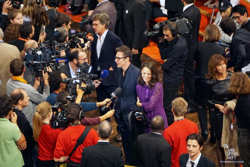 Raphaël Personnaz, Bérénice Bejo, Michel Hazanavicius et François Cluzet - Remise du Prix Lumière à Martin Scorsese - Festival Lumière - Lyon - Oct 2015 - Photo © Anik COUBLE