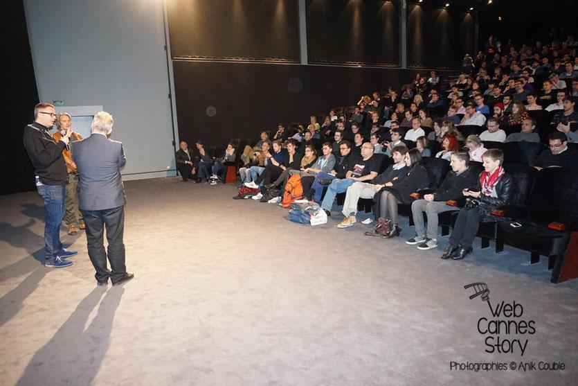 """Mads Mikkelsen et Nicolas Winding Refn, devant leur public, pour la présentation du film """"Les négriers"""" - Festival Lumière 2015 - Lyon - Photo © Anik COUBLE"""