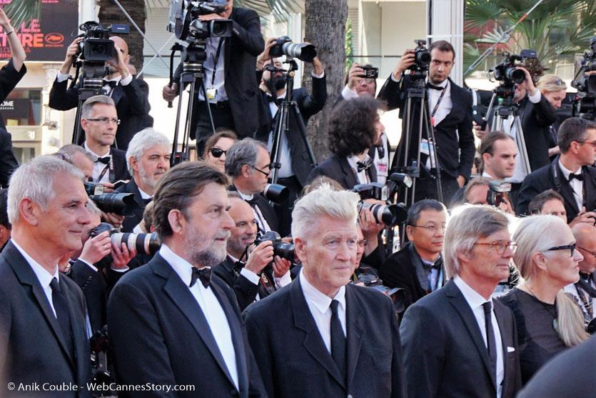 Laurent Cantet, Nanni Moretti, David Lynch, Bille August et Jane Campion, dententeurs d'une palme d'or, sur le tapis rouge, pour assister à la cérémonie des 70 ans du Festival de Cannes - Festival de Cannes 2017 - Photo © Anik Couble
