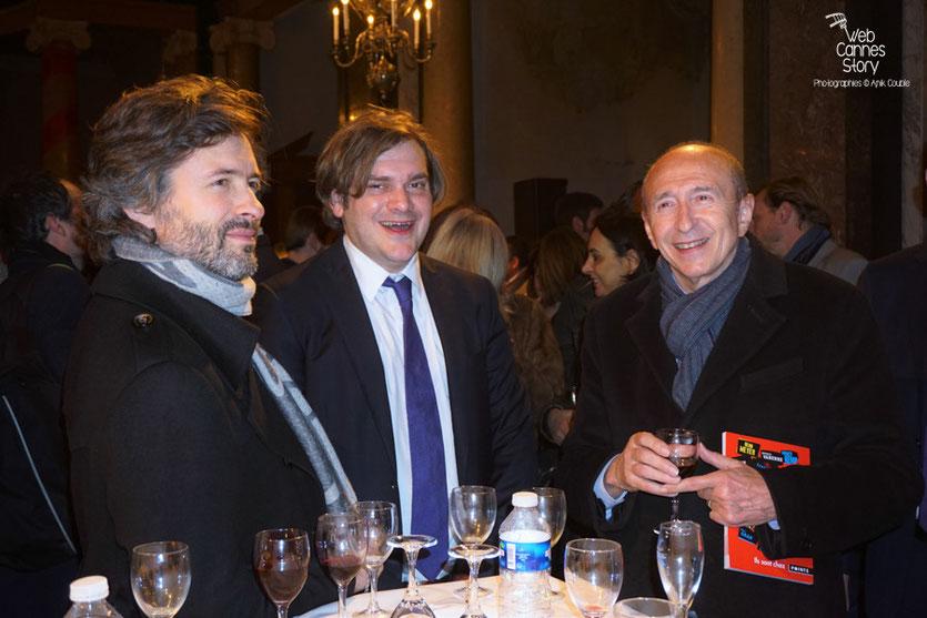 Christophe Ono-dit-Biot, Etienne Gernelle et Gerard Collomb, lors du cocktail d'ouverture à la Chapelle de la Trinité - Quais du Polar 2016 - Lyon - Photo © Anik Couble