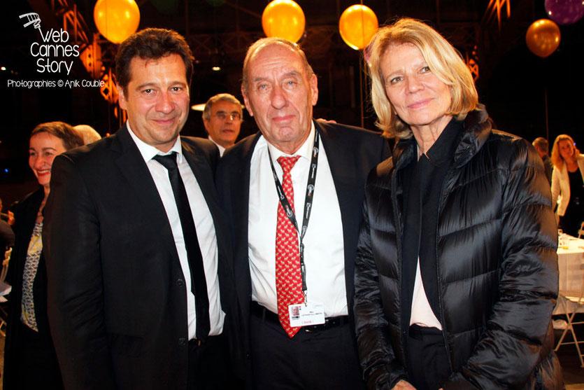 Max Lefrancq-Lumière, petit-fils de Louis Lumière, entouré de Nicole Garcia et Laurent Gerra - Lyon - Ouverture du Festival Lumière 2014 - Photo © Anik COUBLE