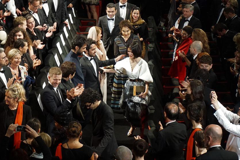 Panah Panahi et Solmaz Panahi, le fils et la fille de Jafar Panahi, présents à la projection du film 3 visages (3 faces) de leur père, Jafar Panahi, présenté en sélection officielle, lors du Festival de Cannes 2018.