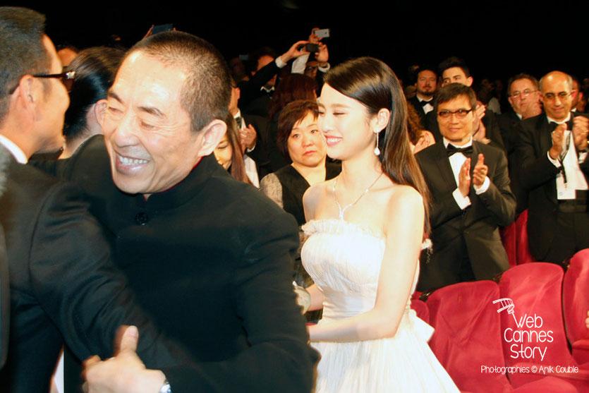 Zhang Yimou et Zhang Huiwen, lors de la présentation du film «Coming Home» de Zhang Yimou - Festival de Cannes 2014 - Photo © Anik COUBLE