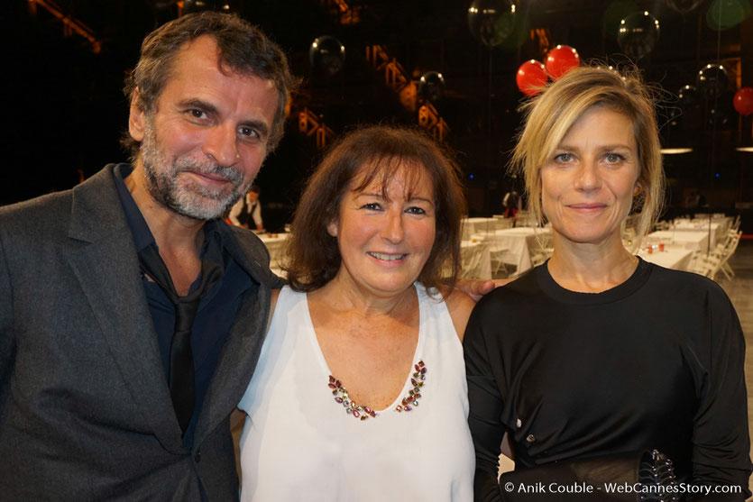 Ma sympathique rencontre avec Marina Foïs et Eric Lartigau, lors du dîner d'ouverture du Festival Lumière 2017, à Lyon - Photo © Anik Couble