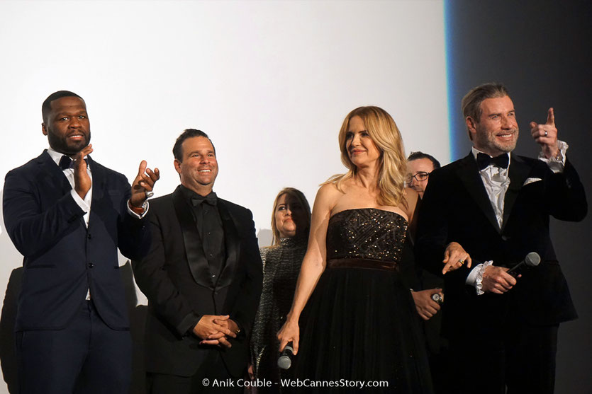 John Travolta et son épouse Kelly Preston, en compagnie de 50 cent, lors de la projection du film, Gotti, de Kevin Connolly, présenté, en séance spéciale - Festival de Cannes 2018 - Photo © Anik Couble