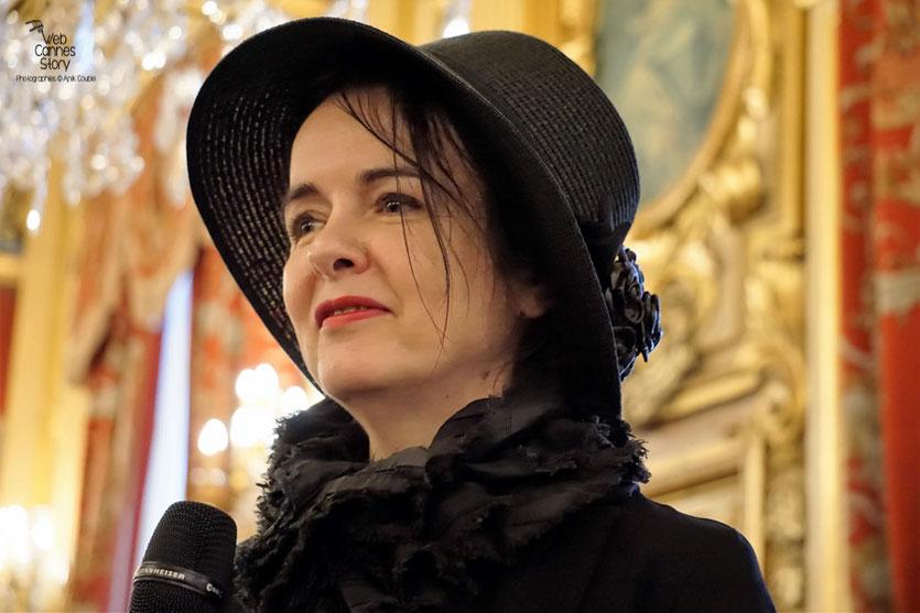 Amélie Nothomb,  auteure belge,  lors de la Dictée Noire - Quais du Polar 2016 - Lyon - Photo © Anik Couble