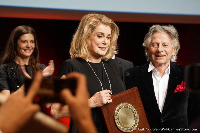 Chiara Mastroïani, Catherine Deneuve et Roman Polanski - Cérémonie de remise du Prix Lumière - Amphitheâtre 3000 - Lyon - Oct 2016  - Photo © Anik Couble