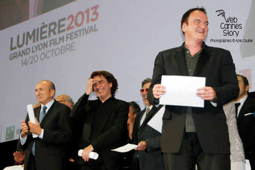 Quentin Tarantino, en compagnie de Daniel Auteuil, Jean-Michel Jarre et  Gérard Collomb - Festival Lumière - Lyon - Oct 2013 - Photo © Anik COUBLE