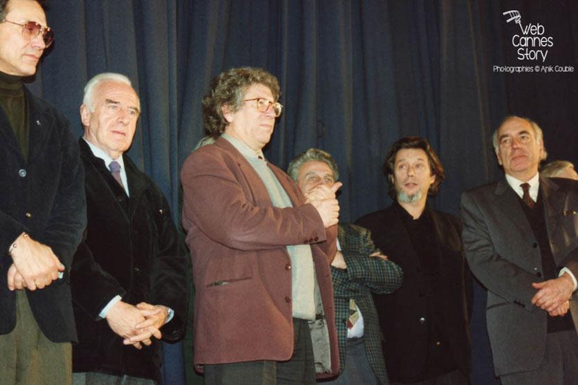 Andreï Konchalovsky (ex URSS), Claude Sautet (France), Claude Miller (France) et Jacques Deray (France) - Cérémonie du centenaire du Cinéma  - Lyon - 1995 © Anik COUBLE