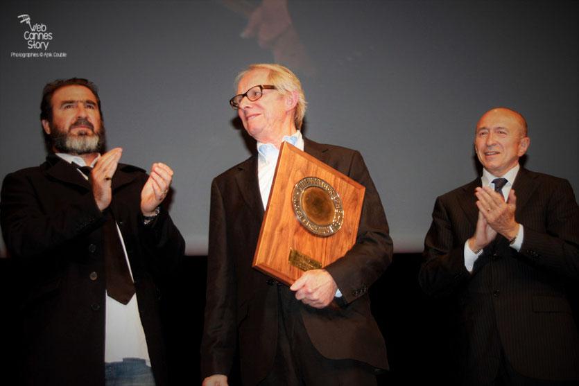 Eric Cantona, Ken Loach et Gérard Collomb - Festival Lumière 2012 - Lyon - Photo © Anik Couble