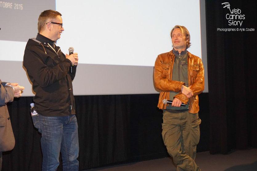 """Mads Mikkelsen et Nicolas Winding Refn, lors de la présentation du film """"Les Négriers"""" - Festival Lumière 2015 - Lyon - Photo © Anik COUBLE"""
