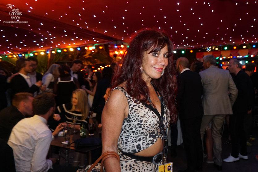 Esméralda Petit Benito, la célèbre femme panthère, malicieuse,  lors de la  soirée de clôture à l'Hôtel 3.14 - Festival de Cannes 2016 - Photo © Anik Couble